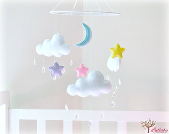 Night sky stars, moon and clouds mobile - cloud mobile - white, pink, yellow, blue, purple - pastels - nursery decor - MADE TO ORDER