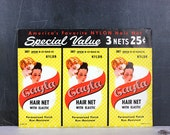 Gayla Hair Nets 1950 Grey Nylon Set 3 NOS Hairstyle Accessory