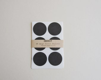 black large circle stickers  (24 stickers)