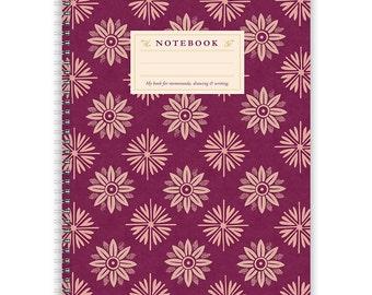Notebook A4 - Lilac Flower Pattern