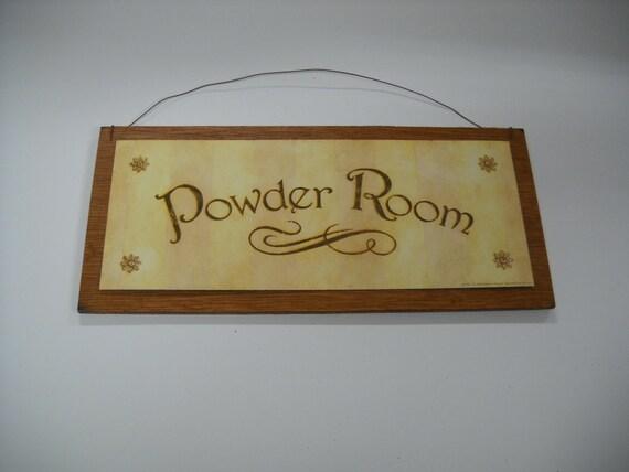 Items Similar To Powder Room Wooden Wall Art Sign Bathroom