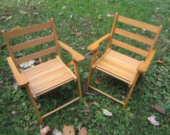 Vintage Childrens Folding Chairs (Set of Two)