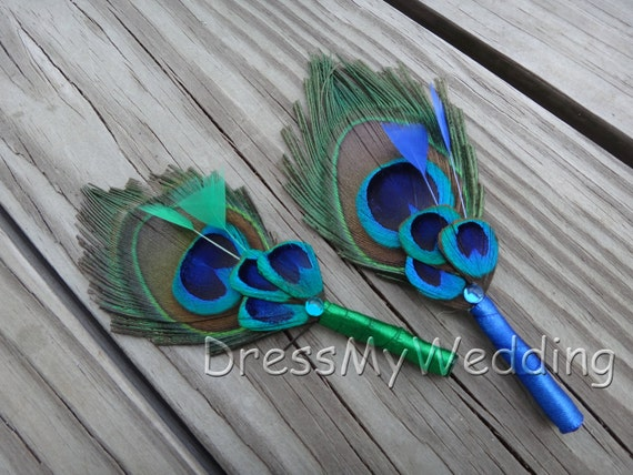 Peacock boutonniere, custom orders are accepted for additional colors