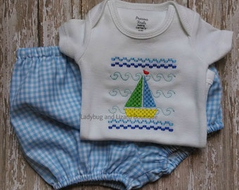Faux Smocked Sailboat Bodysuit and Blue Gingham Diaper Cover Set Size NB-12M