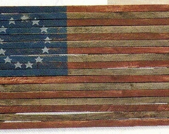 Flag Large Americana 4' Lath Boards with Colonial 13 Stars on Reclaimed Wood
