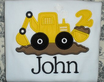 Custom Digger Backhoe Applique Shirt - Perfect for Birthday