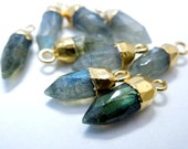 Tiny Labradorite Spike Pendant Charm with Electroplated 24k Gold Cap and Bail Bulk LOT OF 5  (S64B7-08)