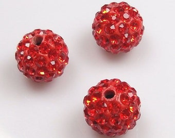 10 pcs 10mm Red Swarovski Crystal Pave Disco Ball Spacer Charm Beads