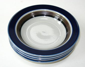 Arabia Finland SAARA Set of 4 Rimmed Cereal Bowls - Mid Century Flower Power w/ Blue Brown & Black Bands - More Available