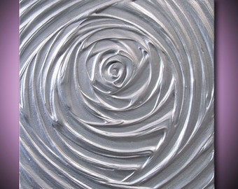Painting Silver Abstract Acrylic Sculpture Metallic Grey Gray Healing Vortex of Creation 12x12 High Quality Original Modern Fine Art