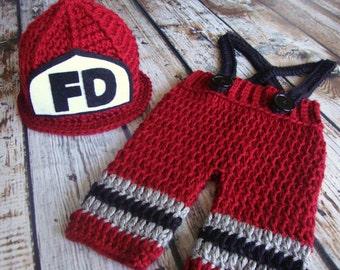 Ready to Ship Fireman Helmet, Pants, and Suspenders, Firefighter Hat, Crochet Hat, Photo Prop, Baby Hat, Newborn Hat