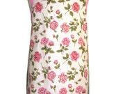 Metro Retro Mini Pink Roses Vintage Tea Towel Womans Kitchen Apron - Christmas, Birthday, Great Gift Idea OOAK . HANDMADE in Australia