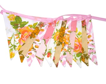 Vintage Bunting - Retro Pink / Peach & Lace, Floral Flags . Shabby Chic, Party Decoration, Birthday Parties, Party, Wedding . HANDMADE .