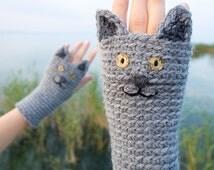 Cat Fingerless Gloves ~ FREE Shipping Worldwide