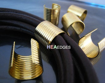 6pcs Gold Crimp Cord Ends Cap -  Findings Very Large Round Curve Adjustable Fold Over Crimps End Caps without Loop 16mm x 15mm
