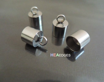 4pcs Silver Stainless Steel End Caps 7mm -  Findings Stainless Steel Leather Cord Ends Cap with Loop 13mm x 8mm
