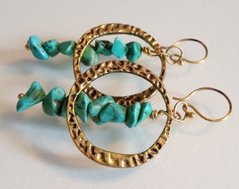 Tuquoise and Gold toned Hoop Earrings Handmade