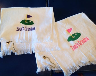 Personalized golf towel with fringe ends in white, pink or royal blue. With or without hook