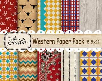 Western Paper Pack, Instant Digital Download, 10 Custom Designed Papers Scrapbook, Cards, Printable Background paper