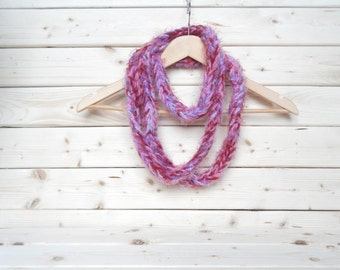 Multicolor crochet infinity scarf, handmade crochet scarf with pink and purple by ILoveCrochetByAnna, ready to ship