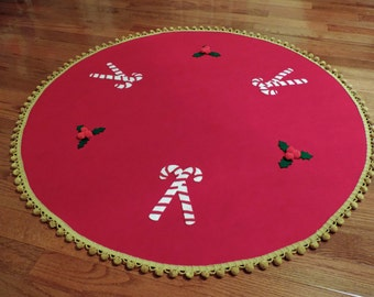 Christmas Red Felt Tree Skirt with Candy Canes and Holly 48 inch diameter