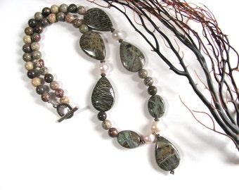 Earthy necklace, Beautiful Snakeskin Jasper, FWP,Silver Leaf Jasper, green necklace, beaded necklace, gemstones 020