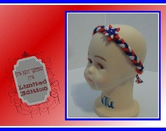 Boho Hippie Braided Red White and Blue Patriotic Crocheted Headband! Ready to ship!