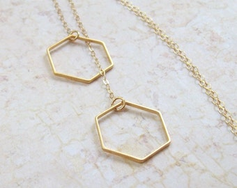 Gold Hexagon Necklace, Geometric Necklace, honeycomb, 14K gold filled, gf, summer, matte, simple, minimal