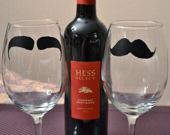 Mustache Wine Glass Set