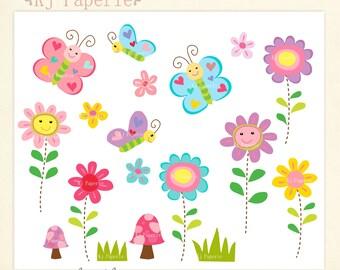 Flowers Clip art,scrapbooking,butterfly clip art, spring butterfly and flowers clip art,digital clip art,instant download