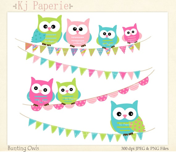 Items similar to owls clip art, bunting and owl Clip art ...