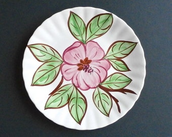 "Vintage Blue Ridge Pottery Salad Plate - Pink Flower - Fleurs - 8"" Salad Plate - Fondeville NY - Country Farmhouse Decor - Collectible Dish"