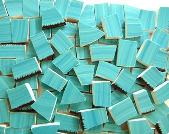 Bright Turquoise Mosaic Tiles - Recycled Plates - 50 Tiles