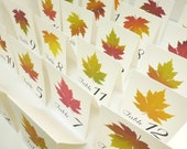 Wedding Table Numbers, 20 Autumn Leaf Table Numbers. Vintage Table Tent Cards, Double Sided Cards, Assorted Fall Colors