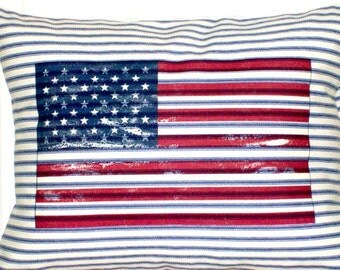 """shabby chic, feed sack, french country, navy & cream Old Glory 12"""" x 16"""" pillow sham."""