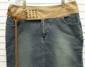 Vintage 90s Mod Jean Skirt Acid Washed Leather Rad Cool Suede Feel Belt Size 12 Waist 34 Denim Grunge 90s  Hippie Boho Bohemian