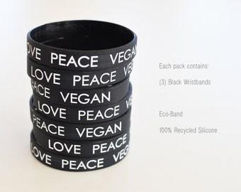 LOVE PEACE VEGAN : Black Wristbands (Pack of 3)