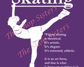 Skater ice skating Girl Purple Print Wall art 8 x 10 FREE SHIPPING Olympics Inspirational