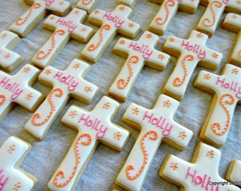 Basic Cross cookies personalized  for baptism communion wedding and other religious events (2 dozen) [#2318]