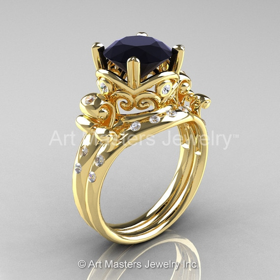 Art Masters Vintage 14K Yellow Gold 3 0 Ct Black and White Diamond Wedding Ri