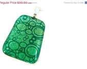 CLOSING SALE Emerald Green Fused Glass Bubble Pendant Pantone Color of the Year