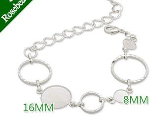 10pcs Nickel Color Bracelet With Two Bezels, 8mm /16mm bezel Bracelet Blank C3053