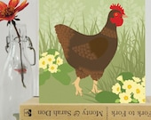 Hen and Primroses card - Easter card