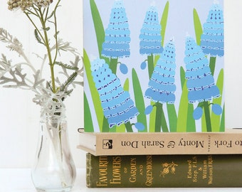 Blue Muscari Card - grape hyacinth, birthday, blank, notelet
