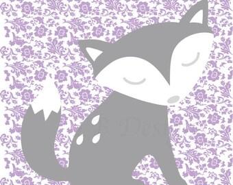 Girl  Fox Nursery Art, GirlWoodland Nursery Print, Purple Fox Decor, Girl Nursery Decor, Girl Bedroom Wall Art, Gift for New Baby - 8x10