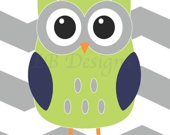 Gray Chevron Green and Navy Blue Woodland Nursery Decor, Owl Nursery Decor, Boy's Bedroom Decor 8x10