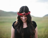 Red Floral Crown, Wedding, Rustic, Bridal Headpiece, red wedding, bridesmaids, Hair Accessories, flower crown, boho, valentine, bridal hair