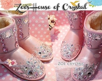 PROMOTION WINTER Pink Sheepskin Fleech/Wool Boots with shinning and stylish CRYSTALS