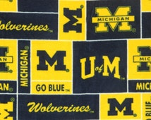NCAA University of Michigan Wolverines Fleece Fabric by the Yard V1 by the yard