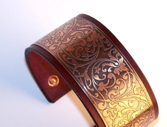 Leather And Etched Copper Women Cuff Bracelet